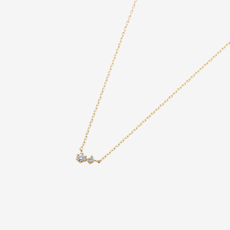 ツインダイヤモンドネックレス (K18YG)