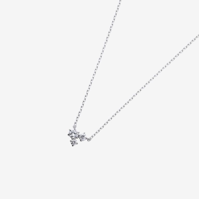 トリプルダイヤモンドネックレス(K18WG)