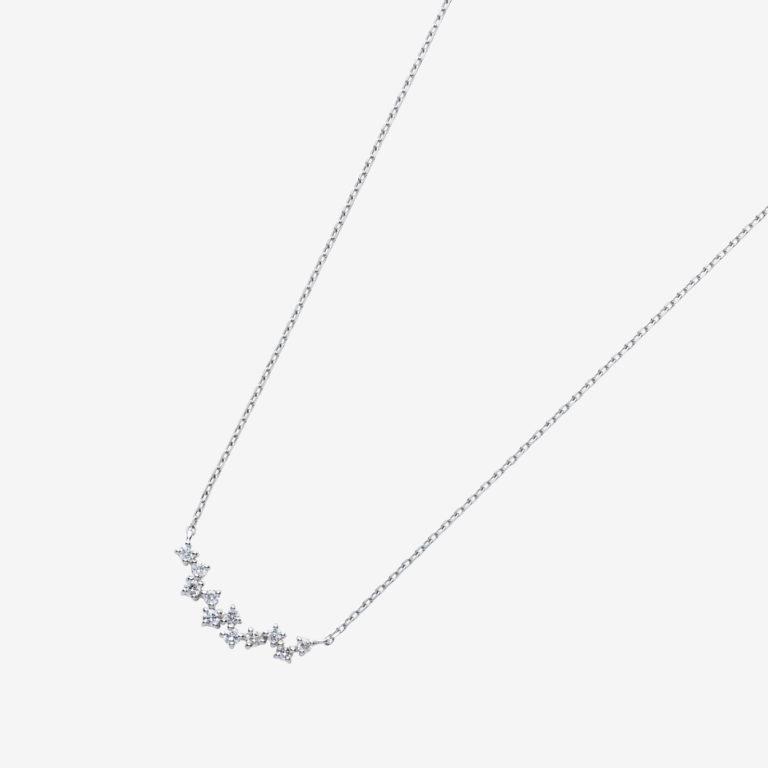 ランダムラインダイヤモンドネックレスS(K18WG)